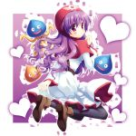 1girl bad_id bad_pixiv_id blush dragon_quest dragon_quest_ii dress hoimi_slime hood long_hair narinn open_mouth princess_of_moonbrook purple_hair slime_(dragon_quest)