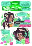 1girl black_skin english ghost gloves green_eyes green_gloves highres iida_(splatoon) long_hair long_sleeves looking_at_viewer octopus open_mouth orange_overalls overalls parted_lips rubber_gloves salmon_run shirt smile splatoon splatoon_2 squid standing symbol-shaped_pupils tentacle_hair white_shirt wong_ying_chee