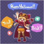 >_< 1girl :d arm_up blonde_hair bloomers blush_stickers bow bowtie candy cape checkered checkered_background chibi commentary english facing_viewer fang food full_body hair_bow halloween halloween_costume heart horn_ribbon horns ibuki_suika kumamoto_(bbtonhk2) lollipop long_hair lowres open_mouth orange_bloomers pixel_art red_neckwear ribbon smile solo spoken_heart striped striped_legwear swirl_lollipop thigh-highs touhou trick_or_treat underwear xd