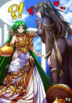 2girls bangs bare_shoulders black_hair blush bodysuit breasts cape cleavage fire_emblem fire_emblem:_kakusei green_eyes green_hair jadenkaiba jewelry kid_icarus kid_icarus_uprising large_breasts long_hair multiple_girls necklace open_mouth palutena smile super_smash_bros. tharja tiara very_long_hair violet_eyes
