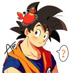 1boy ? animal artist_name azu_(kirara310) black_eyes black_hair crab crab_on_head dougi dragon_ball dragonball_z expressionless eyebrows_visible_through_hair looking_up male_focus short_hair simple_background son_gokuu speech_bubble spiky_hair white_background