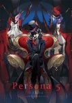 1boy arsene_(persona_5) black_hair chains genderswap genderswap_(mtf) glasses gloves gu-akira hat kurusu_akira looking_at_viewer mask persona persona_5 red_eyes short_hair smile solo top_hat weapon wings