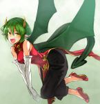 1girl bangs black_pants china_dress chinese_clothes draco_centauros dragon_girl dragon_tail dragon_wings dress elbow_gloves eyebrows_visible_through_hair fang flats flying gloves gradient gradient_background green_background green_hair highres horns long_dress looking_at_viewer nishiide_kengorou open_mouth pants pants_under_dress pointy_ears puyopuyo red_dress red_footwear short_hair side_slit sleeveless sleeveless_dress slit_pupils smile solo tail white_gloves wings yellow_eyes