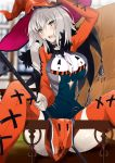 1girl ahoge blurry blurry_background blush bob_cut boots breasts choker commentary_request cross-laced_footwear eyebrows_visible_through_hair fate_(series) halloween halloween_costume hat head_tilt highres holding jeanne_alter long_sleeves looking_at_viewer open_mouth orange_footwear outdoors pelvic_curtain railing ruler_(fate/apocrypha) short_hair sitting spread_legs sweatdrop thigh-highs thigh_boots thighs vane white_hair witch_hat yellow_eyes