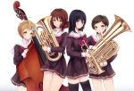 4girls ahoge bangs black_hair black_legwear blonde_hair blush bow brown_hair brown_skirt cowboy_shot double_bass euphonium eyebrows_visible_through_hair green_eyes grin hair_bow hair_ornament hairclip heart hibike!_euphonium highres holding instrument katou_hazuki kawashima_sapphire kousaka_reina long_hair looking_at_viewer multiple_girls neckerchief oumae_kumiko parted_lips pleated_skirt polka_dot polka_dot_bow red_neckwear short_hair simple_background skirt smile standing swept_bangs tareme thigh-highs thighs tr_(hareru) trumpet violet_eyes white_background yellow_eyes zettai_ryouiki