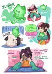 +_+ 2girls animal bespectacled black_hair black_skin blueprint brown_eyes domino_mask earrings english fangs flying_sweatdrops food food_on_head french_fries fume ghost glasses gloom_(expression) gloves green_gloves highres hime_(splatoon) holding holding_animal holding_food iida_(splatoon) jajji-kun_(splatoon) jewelry kojajji-kun_(splatoon) long_hair long_sleeves mask mole mole_under_eye mouth_hold multiple_girls object_on_head octarian open_mouth orange_overalls overalls pencil_skirt pointy_ears rectangular_eyewear rimless_eyewear rubber_gloves salmon_run shirt skirt splatoon squid standing sushi tentacle_hair white_shirt wong_ying_chee