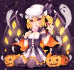 1girl alternate_costume bat black_background black_ribbon blonde_hair breasts candy cape corset dress flandre_scarlet food frilled_dress frills full_body ghost halloween halloween_costume hat hat_ribbon highres holding licking lollipop looking_at_viewer miya_sakaori mob_cap one_side over-kneehighs pumpkin red_eyes ribbon seiza sitting small_breasts smile solo striped striped_legwear thigh-highs touhou white_hat wings wrist_cuffs