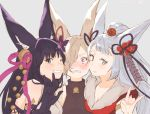 1boy 2girls \m/ animal_ears bell blue_eyes blush erun_(granblue_fantasy) fox_ears granblue_fantasy hair_bell hair_ornament kou_(granblue_fantasy) long_hair momose_sumomo multiple_girls one_eye_closed open_mouth red_eyes smile socie_(granblue_fantasy) yuel_(granblue_fantasy)