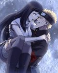 1boy 1girl bangs black_hair black_legwear blunt_bangs boots carrying closed_eyes couple grey_legwear grin hetero highres hyuuga_hinata knee_boots long_hair naruto naruto_shippuuden pantyhose princess_carry profile short_hair smile suji uzumaki_naruto white_eyes