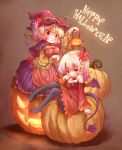 2girls aki_minoriko aki_shizuha apron arinu black_legwear blonde_hair breast_hold breasts brown_footwear capelet cleavage closed_mouth commentary_request demon_tail demon_wings fake_horns food fruit gradient_hair grapes graphite_(medium) happy_halloween hat highres jack-o'-lantern lantern large_breasts looking_at_viewer medium_breasts multicolored_hair multiple_girls pantyhose pink_hat pumpkin purple_hair purple_skirt red_eyes shoes siblings sisters sitting skirt smile tail tongue tongue_out touhou traditional_media wings witch_hat yellow_eyes