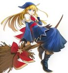 1girl ascot bangs blonde_hair blue_dress blue_eyes blue_footwear blue_hat boots broom broom_riding capelet closed_mouth commentary dress eyebrows_visible_through_hair full_body hand_to_own_mouth hat highres light_smile long_dress long_hair long_sleeves looking_at_viewer madou_monogatari nishiide_kengorou puyopuyo red_neckwear sash sitting wide_sleeves witch witch_(puyopuyo)