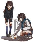 2girls :d backpack bag bangs black_coat black_footwear blue_legwear blue_scarf blush brown_eyes brown_hair cat coat commentary_request cross-laced_footwear dot_nose eyebrows_visible_through_hair fringe fubuki_(kantai_collection) full_body green_eyes hand_on_own_knee hands_on_own_knees jacket kantai_collection kneehighs leaning_forward letterman_jacket loafers long_sleeves multiple_girls ningen_(ningen96) open_mouth petting plaid plaid_scarf raised_eyebrows scarf shirayuki_(kantai_collection) shoes short_hair simple_background smile sneakers squatting standing white_background