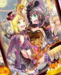 2girls :d bangs bat bat_wings black_hair blonde_hair blush braid breasts candy candy_basket capelet carrying cleavage commentary_request crown_braid embarrassed food frills full_moon garter_straps garters hair_ornament hair_rings halloween halloween_costume hat highres jack-o'-lantern kurosawa_dia lollipop long_hair love_live! love_live!_sunshine!! moon moridam multiple_girls no_shoes ohara_mari open_mouth panties pantyshot pink_panties princess_carry ribbon-trimmed_sleeves ribbon_trim ringed_eyes skirt smile string_of_flags striped striped_legwear thigh-highs toes underwear vertical-striped_legwear vertical_stripes wide_sleeves wings