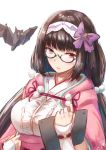 1girl bat black_hair fate/grand_order fate_(series) fingerless_gloves gloves gohei_(aoi_yuugure) hairband highres long_hair looking_at_viewer low_twintails origami osakabe-hime_(fate/grand_order) semi-rimless_eyewear sketch solo tablet_pc twintails violet_eyes white_background