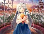 1girl 2017 :d black_hairband blue_eyes blue_skirt blush brick_floor brick_wall cage clannad clouds commentary dated eyebrows_visible_through_hair fence field flower flower_field hairband happy_birthday holding holding_flower long_hair long_sleeves looking_at_viewer mountain naka_akira open_mouth red_ribbon ribbon sakagami_tomoyo shirt signature silver_hair skirt sky smile solo stuffed_animal stuffed_toy sunset teddy_bear very_long_hair white_flower white_shirt windmill