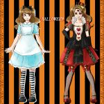 2girls alice_(wonderland) alice_in_wonderland alternate_costume bow brown_eyes brown_hair charlotte_pudding crown dual_persona gloves halloween halloween_costume heart highres long_hair multiple_girls one_piece queen_of_hearts thigh-highs third_eye twintails