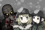 2girls aqua_eyes artist_request backpack bag black_eyes black_hair blonde_hair bloodsucker chito_(shoujo_shuumatsu_ryokou) claws coat crossover gloves glowing glowing_eyes helmet highres hood hooded_jacket jacket meme military_jacket monster_girl multiple_girls serjatronic shoujo_shuumatsu_ryokou snowing stalker_(game) tagme teeth yuuri_(shoujo_shuumatsu_ryokou)