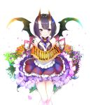 1girl alternate_costume apron bangs bare_shoulders blue_neckwear blush bob_cut bow bowtie collarbone commentary_request demon_wings eyebrows_visible_through_hair fate/grand_order fate_(series) flat_chest floral_background flower frilled_skirt frills gem halloween highres holding horns layered_skirt looking_at_viewer oni oni_horns petals pilokey pumpkin purple_hair short_hair shuten_douji_(fate/grand_order) skirt smile solo stitches violet_eyes wings