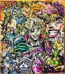 alcohol ashiya_kouhei bottle cosplay crossdressing demon_horns frankenstein's_monster frankenstein's_monster_(cosplay) green_skin halloween hat hermit_purple highres horns iggy_(jojo) jean_pierre_polnareff jojo_no_kimyou_na_bouken joseph_joestar kakyouin_noriaki kuujou_joutarou marker_(medium) mohammed_avdol mummy official_style silver_chariot traditional_media vampire werewolf
