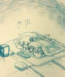 2girls aki_minoriko aki_shizuha arinu commentary_request feet_up futon hair_ornament highres japanese_clothes lantern leaf_hair_ornament lying magazine monochrome multiple_girls on_stomach pointing short_hair siblings sisters smile touhou traditional_media translation_request under_covers