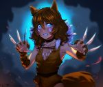 1girl animal_ears blue_eyes blush breasts brooke_(mathias_leth) brown_hair choker claw_(weapon) claw_pose commentary freckles fur_collar halloween halloween_costume highres kemonomimi_mode long_hair mathias_leth original small_breasts solo tail tooth_necklace weapon