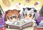 2girls :d book brown_eyes brown_hair commentary_request curry curry_rice drooling eurasian_eagle_owl_(kemono_friends) food gradient_hair head_wings highres holding japari_bun japari_symbol kemono_friends lying multicolored_hair multiple_girls northern_white-faced_owl_(kemono_friends) on_stomach open_mouth owl_ears pizza pointing reading rice sekiguchi_miiru short_hair silver_hair smile sparkle strawberry_shortcake sushi translation_request