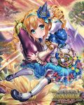 1girl :o animal aqua_bow aqua_ribbon bangs bird blonde_hair blue_bow blue_capelet blue_eyes blue_flower blue_footwear blue_hat blue_skirt blush bow brooch brown_shirt capelet clouds cloudy_sky constellation_print copyright_name day eggplant esphy eyebrows_visible_through_hair fantasy flower hair_between_eyes hair_flower hair_ornament hair_ribbon hat hatsuyume hawk head_tilt jewelry juliet_sleeves long_sleeves looking_at_viewer mini_hat mount_fuji object_hug official_art outdoors parted_lips print_hat puffy_sleeves red_bow red_sky ribbon ribbon-trimmed_sleeves ribbon_trim rope shinma_x_keishou!_ragnabreak shirt shoes skirt sky solo star striped striped_legwear sun sunlight thigh-highs twintails white_legwear wide_sleeves wizard_hat yellow_flower