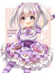 1girl :d bangs blush bow breasts candy candy_hair_ornament candy_wrapper center_frills checkered checkered_skirt cookie copyright_name doughnut eyebrows_visible_through_hair flower_knight_girl food food_themed_hair_ornament frilled_skirt frilled_sleeves frills grey_hair hair_between_eyes hair_ornament haru_ichigo heart_hair_ornament iberis_(flower_knight_girl) long_hair looking_at_viewer medium_breasts open_mouth outstretched_arm pantyhose puffy_short_sleeves puffy_sleeves purple_bow purple_legwear purple_skirt shirt short_sleeves sidelocks skirt smile solo star striped striped_legwear striped_sleeves tareme twintails upper_teeth vertical-striped_background vertical_stripes violet_eyes white_shirt wrist_cuffs