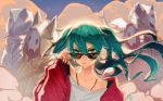 1girl collarbone earrings floating_hair green_eyes green_hair hair_between_eyes hatsune_miku jewelry kkmi long_hair looking_over_sunglasses necklace red_sweater shirt solo suna_no_wakusei_(vocaloid) twintails upper_body vocaloid white_shirt