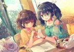 2girls bag black_hair blush brown_hair cafe cosmetics dress drink food green_eyes hair_between_eyes hair_ornament hiryuu_(kantai_collection) ice_cream kantai_collection multiple_girls nanahamu open_mouth orange_eyes phone ponytail remodel_(kantai_collection) short_hair souryuu_(kantai_collection) table tree