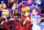 4girls :d ;d absurdres alice_(wonderland) alice_(wonderland)_(cosplay) arisa_bannings bat blonde_hair brown_hair cape cosplay fake_horns fangs fate_testarossa ferret full_moon grin halloween halloween_costume hat highres lipstick long_hair long_sleeves low_twintails lyrical_nanoha mahou_shoujo_lyrical_nanoha mahou_shoujo_lyrical_nanoha_the_movie_3rd:_reflection makeup megami moon multiple_girls night official_art one_eye_closed open_mouth puffy_sleeves purple_hair smile star_(sky) takamachi_nanoha thigh-highs tree tsukimura_suzuka twintails vampire_costume witch_hat yuuno_scrya