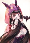 1girl bangs bat black_hair blush breasts brown_hair covering_mouth fate/grand_order fate_(series) fingerless_gloves glasses gloves gradient_hair hood japanese_clothes large_breasts long_hair looking_at_viewer multicolored_hair origami osakabe-hime_(fate/grand_order) simple_background very_long_hair white_background yumaomi