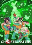 4girls aori_(splatoon) boots carrying dark_skin fangs ghost ghostbusters gloves green_footwear green_gloves gun highres hime_(splatoon) hotaru_(splatoon) iida_(splatoon) looking_at_viewer mole mole_under_mouth multiple_girls open_mouth overalls parody princess_carry rubber_boots rubber_gloves salmon_run scared splatoon splatoon_1 splatoon_2 tearing_up tentacle_hair weapon wong_ying_chee