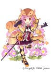 1girl :d acorn_bag animal_ears animal_hood argyle argyle_legwear arm_up bag bangs black_bow black_gloves blush bow capelet collared_shirt commentary_request daisy daisy_(flower_knight_girl) eyebrows_visible_through_hair fang floral_print flower flower_knight_girl full_body gloves hair_between_eyes hair_flaps hair_ornament hair_tie halloween heart hood hood_up hooded_capelet jack-o'-lantern jack-o'-lantern_hair_ornament jacket kurasuke long_hair looking_at_viewer low_twintails object_namesake official_art open_clothes open_jacket open_mouth orange_footwear orange_jacket outstretched_arm pantyhose pink_hair pleated_skirt print_jacket purple_skirt red_eyes shirt shoes shoulder_bag simple_background skirt smile solo squirrel_ears squirrel_hood squirrel_tail standing standing_on_one_leg star sword tail twintails underbust weapon white_background white_shirt