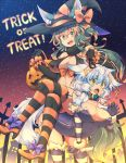 2girls animal_ears breasts brown_hair chains cleavage collar elbow_gloves fang femdom gloves green_eyes halloween kuromiya kuromiya_raika large_breasts leash long_hair multicolored_hair multiple_girls open_mouth original shiromiya_asuka short_hair sitting sitting_on_person striped striped_gloves striped_legwear tail thigh-highs trick_or_treat two-tone_hair white_hair