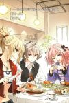 1girl 2boys ahoge bangs black_ribbon blonde_hair bra braid bread breasts brown_hair coffee_cup coffee_mug denim eyebrows_visible_through_hair fang fate/apocrypha fate/grand_order fate_(series) food fork green_eyes hair_ornament hair_ribbon hands_together high_ponytail highres holding holding_fork holding_knife hood hooded_jacket jacket jewelry knife konoe_ototsugu long_braid long_hair long_sleeves male_focus meat midriff multicolored_hair multiple_boys navel necklace novel_illustration official_art one_eye_closed pink_eyes pink_hair ponytail purple_jacket red_eyes red_jacket ribbon rider_of_black saber_of_red scrunchie shirt short_hair shorts sieg_(fate/apocrypha) single_braid small_breasts strapless strapless_bra translated trap two-tone_hair underwear waistcoat white_bra white_shirt
