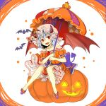 >:d :d bat bat_wings bow brooch commentary_request demon_tail dress eyebrows_visible_through_hair fang frills halloween halloween_costume heart heart_tail holding holding_umbrella horns jack-o'-lantern jewelry mangetsu_(yayoi) necklace open_mouth parasol patches puffy_short_sleeves puffy_sleeves pumpkin purple_ribbon red_eyes red_wings remilia_scarlet ribbon short_hair short_sleeves simple_background sitting smile strapless strapless_dress tail touhou umbrella wings