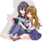 2girls bangs barefoot black_hair blue_pants blue_skirt breast_grab brown_eyes brown_hair brown_legwear commentary_request creek_(moon-sky) grabbing grabbing_from_behind hair_between_eyes handheld_game_console holding long_hair multiple_girls nintendo_switch no_shoes original pants parted_lips playing_games pleated_skirt shirt simple_background sitting skirt socks striped striped_shirt very_long_hair white_background white_shirt yuri