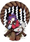 1girl absurdres breasts closed_mouth hair_ornament half-closed_eyes highres large_breasts leaf_hair_ornament mirror puffy_short_sleeves puffy_sleeves purple_hair red_eyes rope shide shimenawa shiratama_(irodoli) short_sleeves simple_background smile snake solo touhou twitter_username upper_body white_background white_snake yasaka_kanako