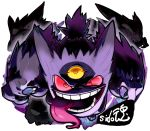 commentary_request evil_smile gastly gengar haunter looking_at_viewer mega_gengar mega_pokemon no_humans pokemon pokemon_(creature) red_eyes red_sclera sido_(slipknot) signature smile solo teeth third_eye tongue tongue_out