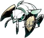 commentary_request green_eyes insect looking_at_viewer nincada no_humans pokemon pokemon_(creature) sido_(slipknot) signature simple_background solo white_background wings