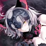 1girl ahoge animal_ears bangs black_nails blush breasts cat_ears chains clenched_teeth close-up cosplay dangerous_beast eyebrows_visible_through_hair fate/grand_order fate_(series) fingernails fur_collar gloves grey_hair jeanne_alter kousaki_rui large_breasts looking_at_viewer lying nail_polish on_side ruler_(fate/apocrypha) sharp_fingernails shielder_(fate/grand_order) shielder_(fate/grand_order)_(cosplay) short_hair solo teeth yellow_eyes