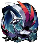 bird blue_eyes claws commentary fangs flying highres looking_at_viewer no_humans pokemon pokemon_(creature) red_sclera sharp_teeth sido_(slipknot) signature skarmory solo teeth