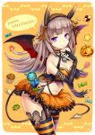 1girl bangs black_gloves blunt_bangs bra breasts brown_hair candy checkerboard_cookie cleavage closed_mouth contrapposto cookie cupcake demon_wings elbow_gloves eyebrows_visible_through_hair food garter_straps gia gloves halloween happy_halloween headphones highres jack-o'-lantern lace lace-trimmed_gloves long_hair looking_at_viewer medium_breasts navel orange_bra orange_skirt original partly_fingerless_gloves pumpkin sidelocks skirt smile solo striped striped_legwear thighs underwear violet_eyes wings
