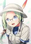 1girl :d black-framed_eyewear black_gloves blue_eyes breast_pocket bucket_hat commentary dot_nose elbow_gloves eyebrows_visible_through_hair glasses gloves green_hair hair_ribbon hat hat_feather head_tilt highres kemono_friends long_hair looking_at_viewer mirai_(kemono_friends) open_mouth over-rim_eyewear pocket ponytail ribbon semi-rimless_eyewear simple_background smile solo upper_body white_hat yasume_yukito