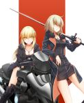 2girls ahoge artoria_pendragon_(all) black_dress blonde_hair boots breasts bubble_blowing chewing_gum cleavage cross_akiha crossed_arms dress fate/grand_order fate_(series) fur_trim jeanne_alter jewelry leaning_back leaning_forward leaning_on_object long_coat long_hair looking_at_viewer multiple_girls necklace ruler_(fate/apocrypha) saber_alter short_hair simple_background sitting sword weapon yellow_eyes