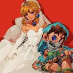 2boys alternate_costume bare_shoulders blonde_hair cosplay costume_switch crossdressing detached_sleeves dress earrings facial_hair gerudo_link gerudo_link_(cosplay) jewelry link long_hair looking_at_viewer male_focus mario mario_(series) midriff multiple_boys mustache navel pointy_ears princess_peach princess_peach_(cosplay) pydiyudie see-through solo stomach super_mario_bros. super_mario_odyssey the_legend_of_zelda the_legend_of_zelda:_breath_of_the_wild veil wedding_dress