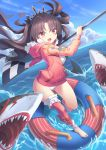 1girl :d black_hair blue_sky checkered clouds cloudy_sky commentary_request fate/grand_order fate_(series) flag hair_ornament hair_ribbon highres holding horizon ishtar_(fate/grand_order) ishtar_(swimsuit_rider)_(fate) jacket jacket_over_swimsuit lifebuoy long_hair looking_at_viewer mystic-san ocean open_mouth orange_eyes ribbon shark sky smile swimsuit tohsaka_rin two_side_up white_swimsuit wind