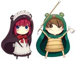 2girls apron bangs blue_eyes blush boa_(brianoa) brown_eyes brown_hair carnival_phantasm chibi closed_mouth cosplay emiya-san_chi_no_kyou_no_gohan eyebrows_visible_through_hair eyes_visible_through_hair fate/hollow_ataraxia fate/stay_night fate_(series) fujimura_taiga hands_up highres himouto!_umaru-chan hisui holding holding_weapon jitome komaru komaru_(cosplay) looking_at_viewer maid maid_apron maid_headdress multiple_girls neck_ribbon red_ribbon redhead ribbon smile standing transparent_background tsukihime weapon