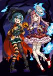 2girls adapted_costume bandage bandaged_leg black_footwear black_hat black_legwear bolt boots brooch cape corset fang frilled_skirt frills green_eyes green_hair green_shorts hair_over_one_eye halloween halloween_costume hat hata_no_kokoro heart high_heels highres hitodama jack-o'-lantern jewelry komeiji_koishi long_hair looking_at_viewer mask miniskirt mismatched_legwear multiple_girls nail_polish night nobori_ranzu open_mouth outdoors pantyhose pink_eyes pink_hair pink_nails red_footwear scar shirt shoes short_shorts shorts skirt sleeves_past_wrists standing striped striped_legwear tongue tongue_out touhou witch_hat yellow_shirt